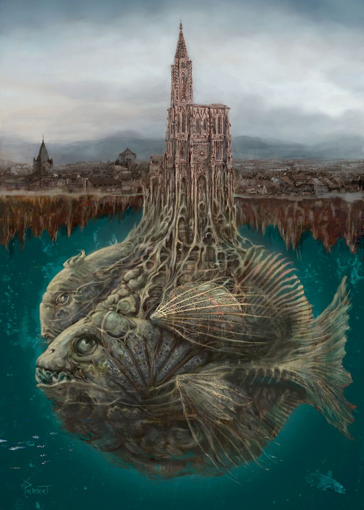 Cathédrale -poisson, illustration de Roland Perret.