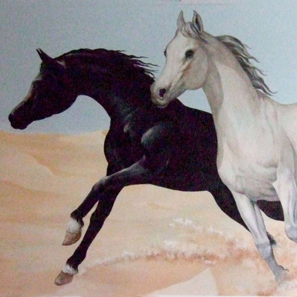 Chevaux arabes, fresque de Roland Perret.