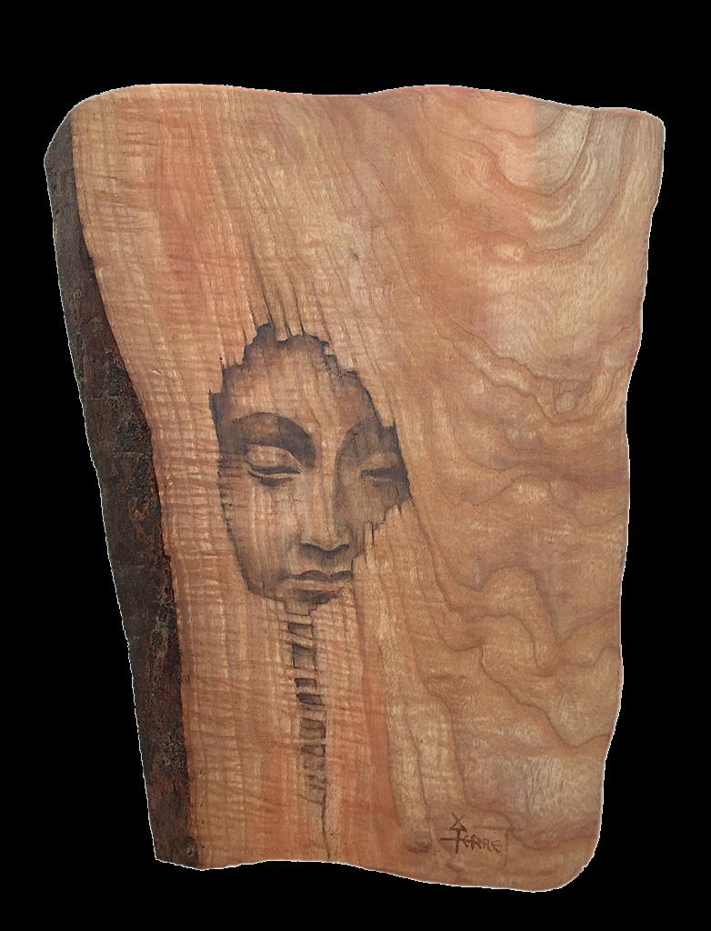 Secret de Sagesse, peinture sur bois massif. Les Bois magiques de Roland Perret.
